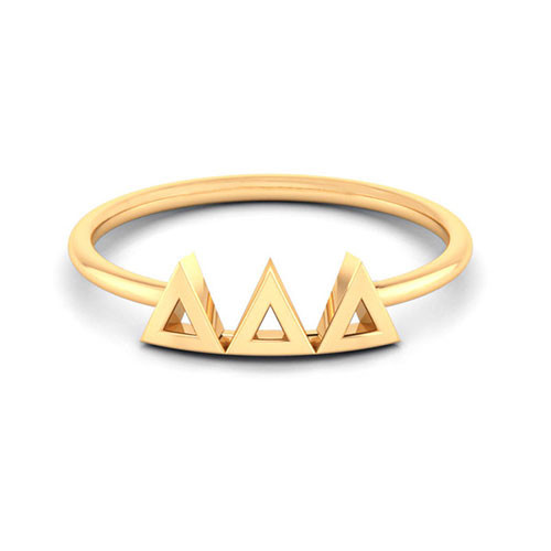 Delta Delta Delta  Gold Thin Band Letter Ring