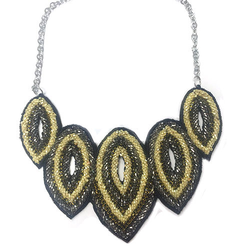 Hand Beaded Tribal Feather Statement Necklace