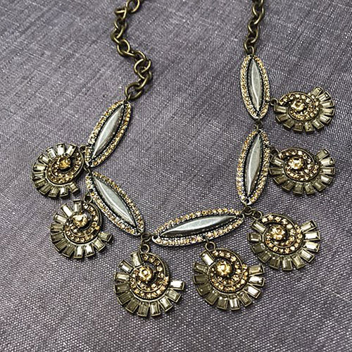 Antique Bronze with Deco Topaz Charm Necklace