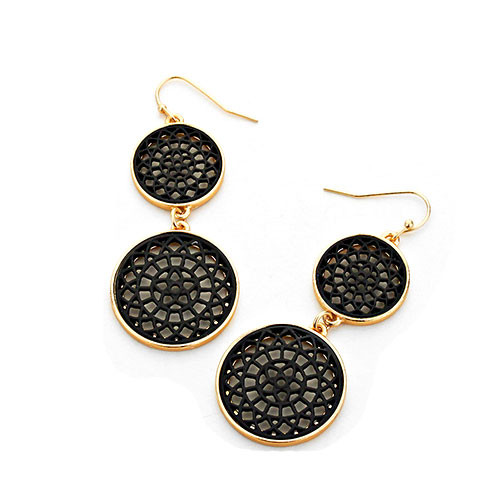 Black Lacey Lotus Double Circle Earrings