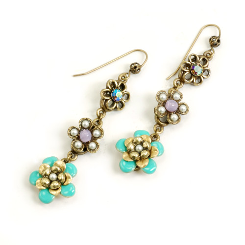 String of Antiqued Brass and Turquoise Flowers