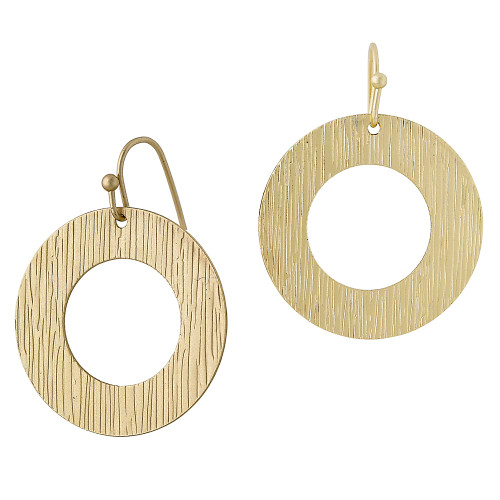 Textured Circle Drop Earring Gold