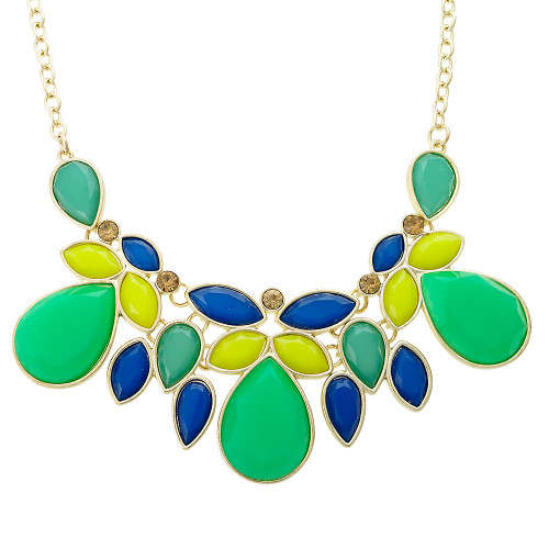 Green and Blue Lotus Leaf Necklace