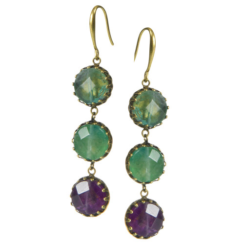 Three Faceted Stones Dangle