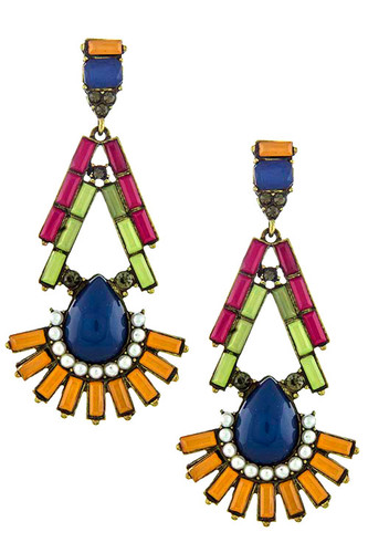 Deco Fan Gem Drop Earrings