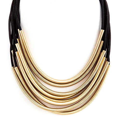 Elongated Springs Layered Necklace Black