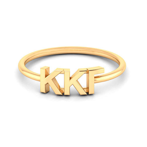Kappa Kappa Gamma Gold Thin Band Letter Ring