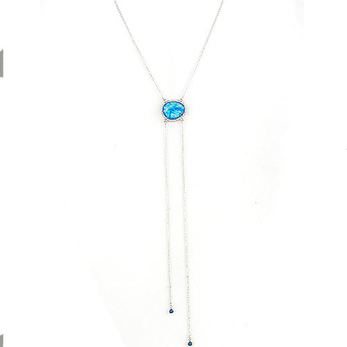 Blue Opal Resin Bolo Necklace