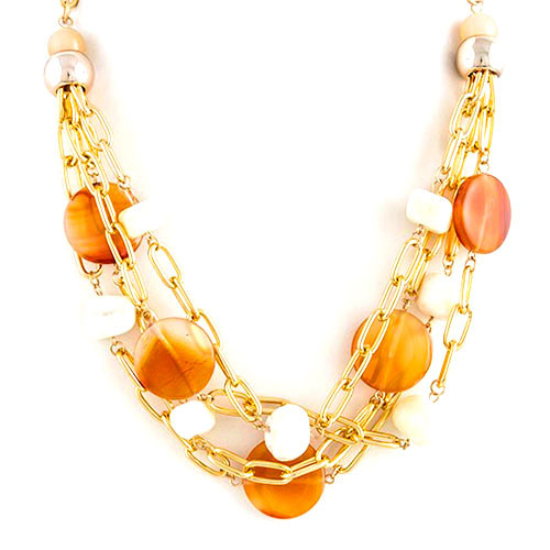 Caramel Gems and Oval Linked Tiered Chains