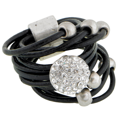 Pave Crystal Disk and Beads Leather Ring
