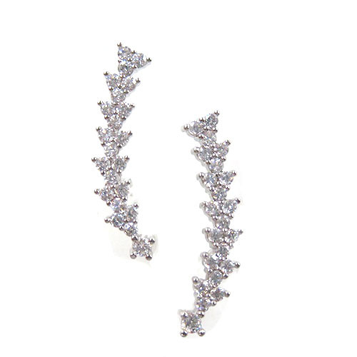 Silver Pave Curved Post Earring