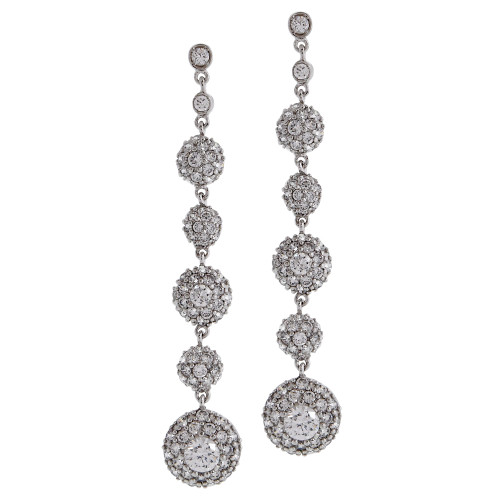 Cubic Zirconia Chain of Disks Earring