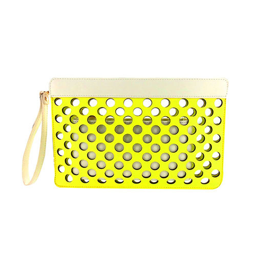 Sondra Robert's Yellow/White Perforated Dot Clutch