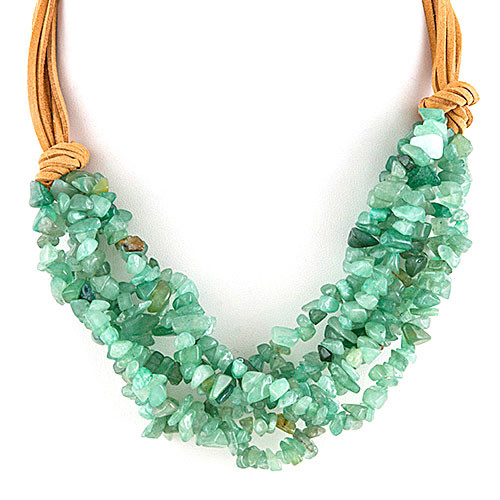 Mint Quartz Layers with Leather Necklace