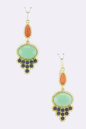 Coral and Turquoise Oval Dangles
