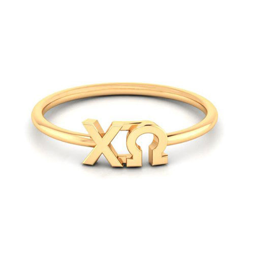 Chi Omega Gold Thin Band Letter Ring