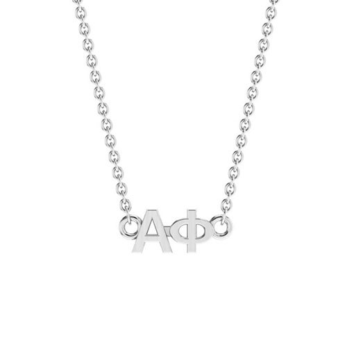 Alpha Phi Silver Horizontal Lavalier
