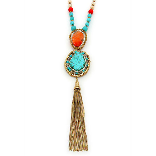 Long Coral and Turquoise Boho Tassel Necklace