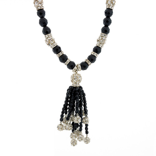 Jet Crystal Necklace with Tassel