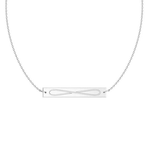 Sigma Delta Tau Silver Infinity Bar Necklace