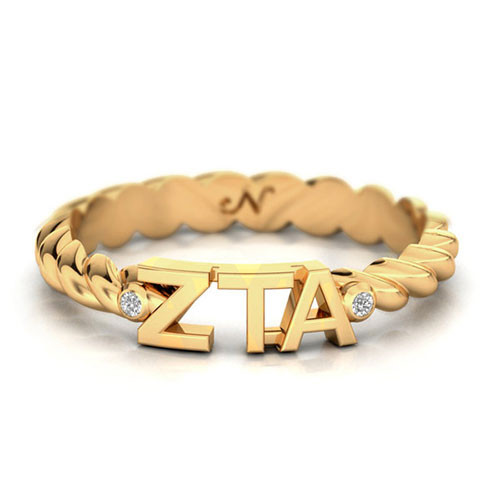 Zeta Tau Alpha Gold Pavå© Twist Letter Ring