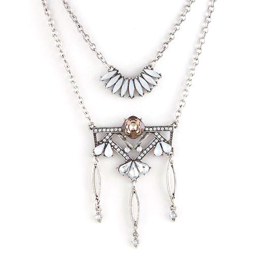 Erte's Antiqued Silver Deco Layered Chain Design