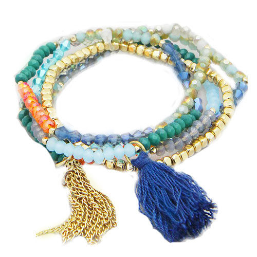 Tassels and Beads Blue Trio