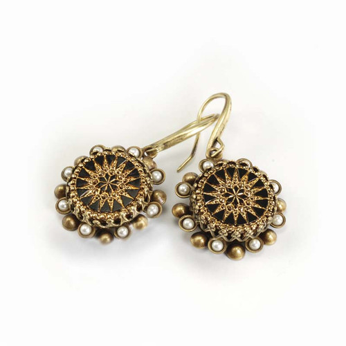 Vintage Jet Glass Patterned Starburst Bead Earring