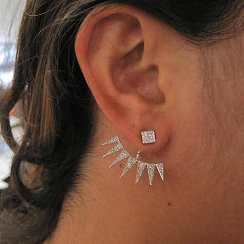 Square Pave Post with Behind Ear Pave Triangles
