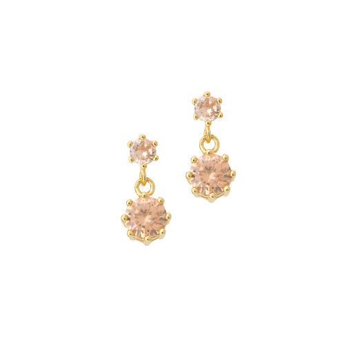 Champagne Topaz Double Crystal Drops Gold