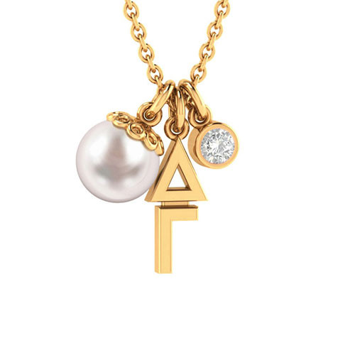 Delta Gamma Gold Triple Charm Necklace