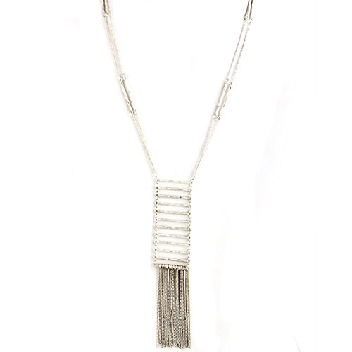 Bars and Fringe Necklace Silver