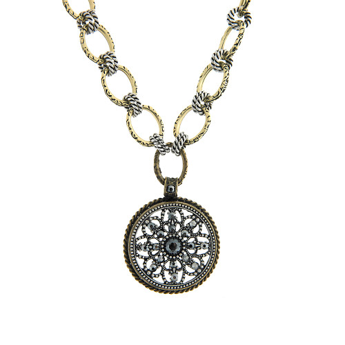 Hematite Filigree Medallion Necklace