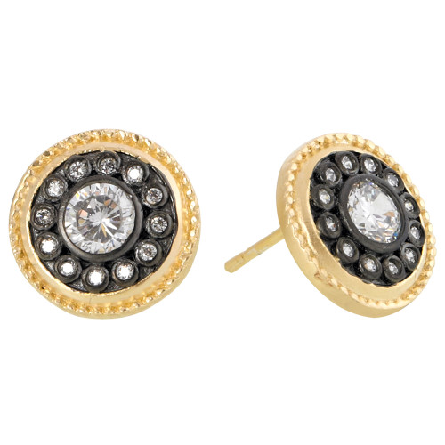 Freida Rothman's Black and Gold Shield Post Earring