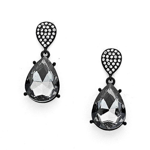 Black Diamond Pear-Shaped Earrings