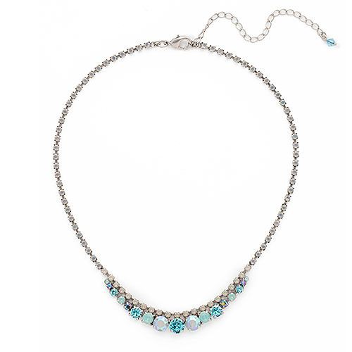 Sorrelli Teal Textile With Gray Opal Chain Necklace