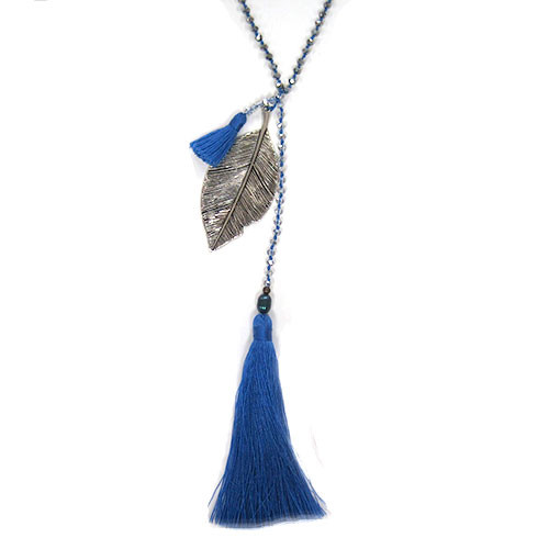 Zacasha's Crystals, Leaves and Blue Tassels Necklace