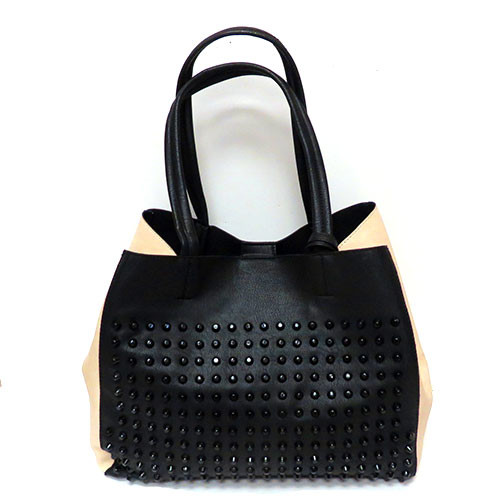 Studded Tote-Black and Cream