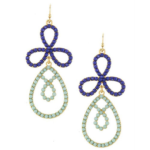 Beaded Cobalt Petal Drop Earrings