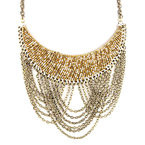 Seed Beads and Chains Bib Necklace in Gold