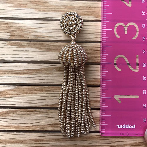 Large Gold Beaded Tassel Earring