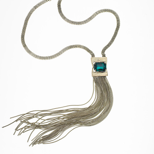 Emerald Green Long Tassel Necklace