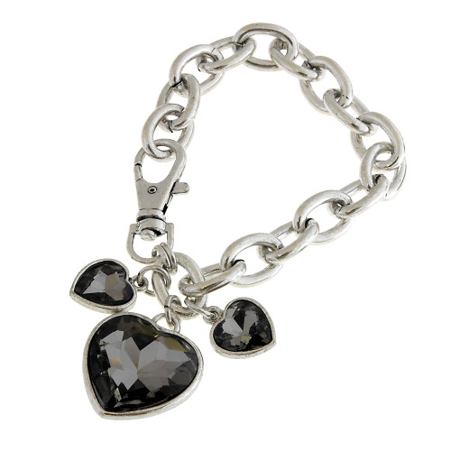 Bold Links with Black Diamond Crystal Hearts Bracelet
