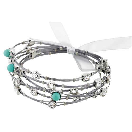 Turquoise and Crystal Whisper Bracelets