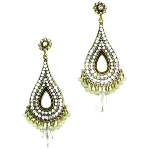Byzantine Teardrop Earring Clear Crystal