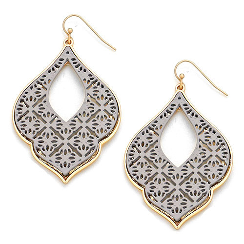 Gray Filigree Earring