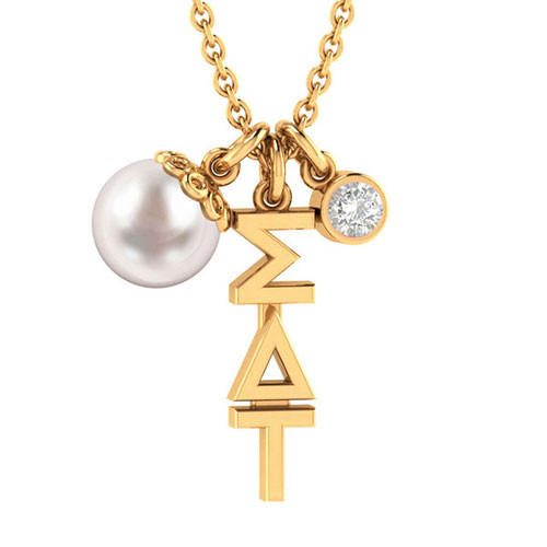 Sigma Delta Tau Gold Triple Charm Necklace