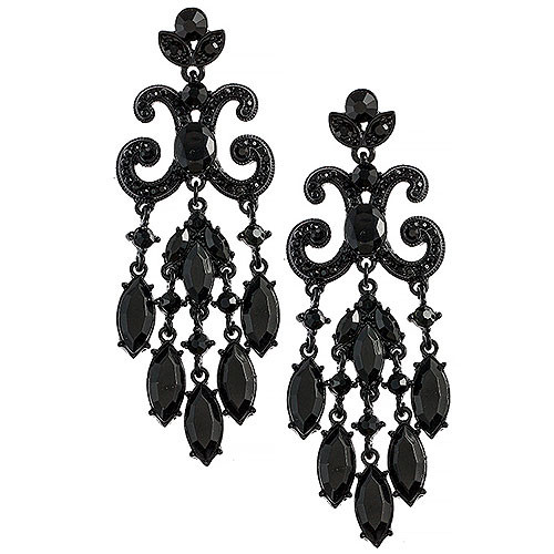 Jet Black Lavish Chandelier Earrings