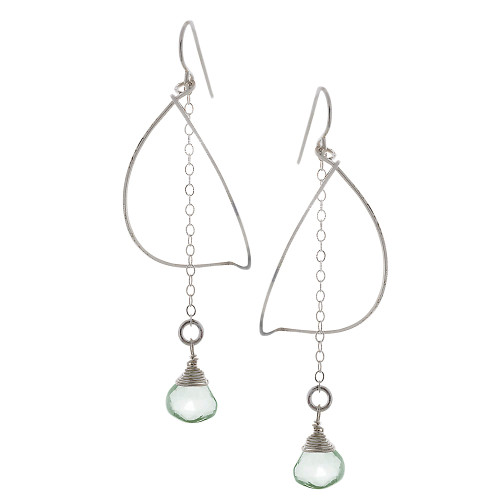 Zia's Silver Petal and Green Amethyst Crystal Drop Earrings