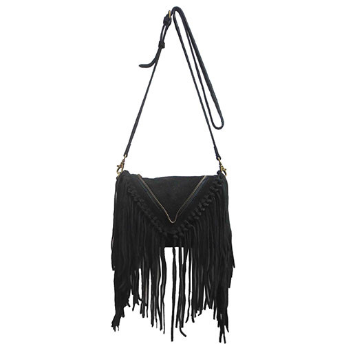 Sondra Roberts Black Suede Fringe Cross Body